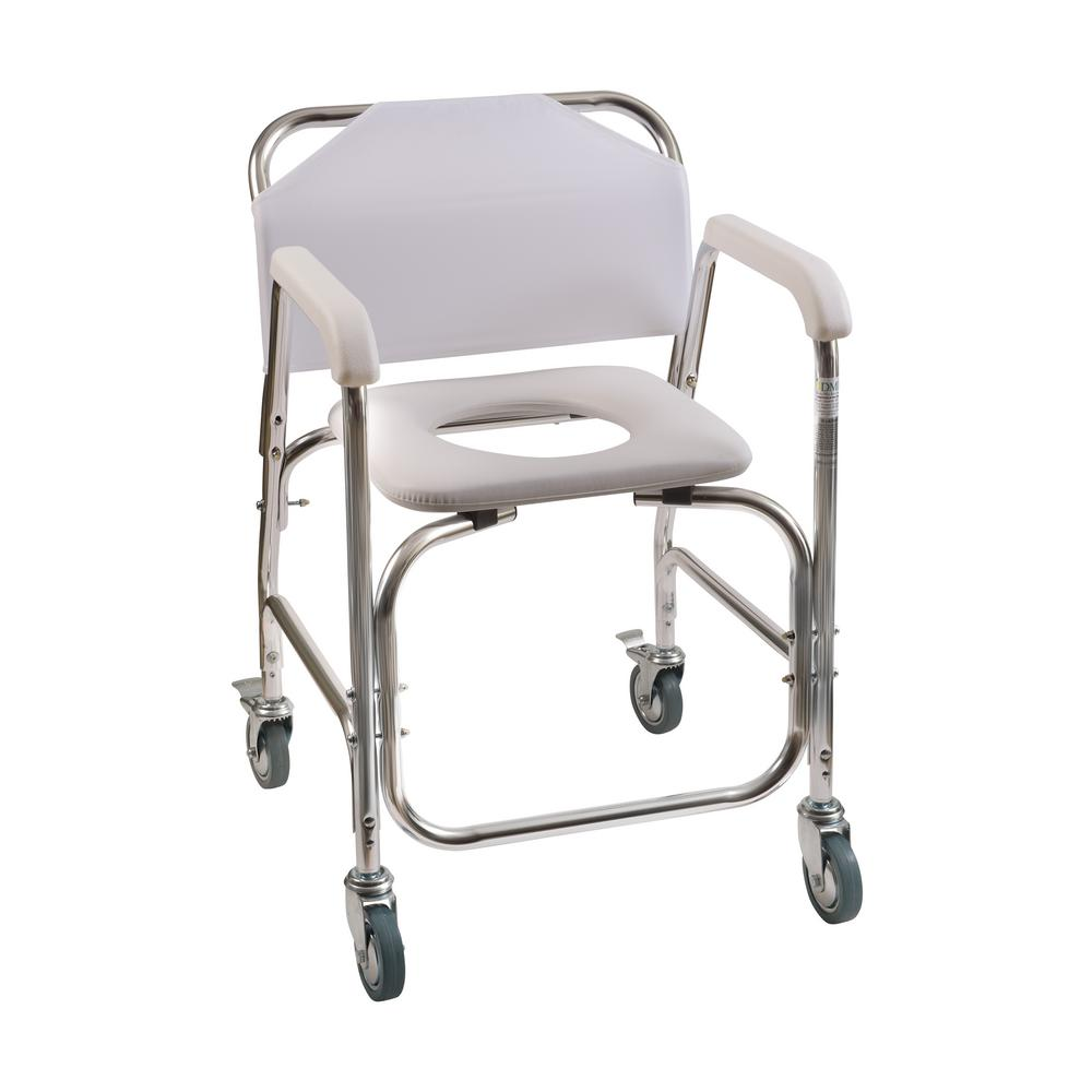 Shower Transport Chair In White 522 1702 1900 The Home Depot In 2021 Shower Chairs For Elderly Commode Chair Transport Chair