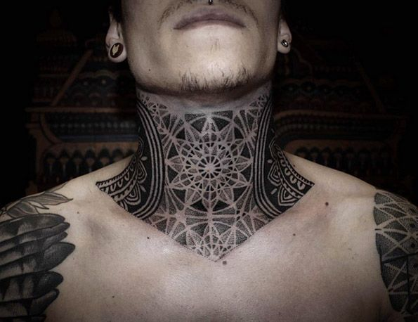 Dotwork Neck Piece By Alexis Calvie Neck Tattoo For Guys Throat Tattoo Best Neck Tattoos