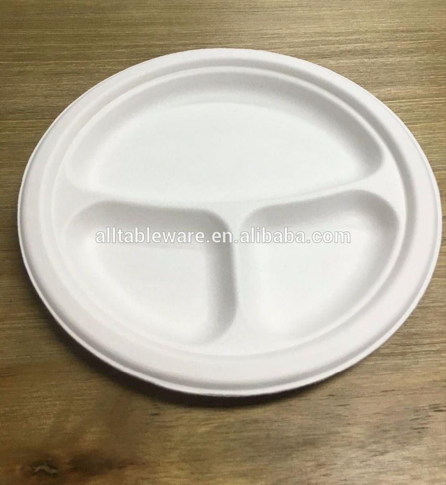 3-compartment eco-friendly paper bagasse round bio disposable plate 9 inch & 3-compartment eco-friendly paper bagasse round bio disposable plate ...