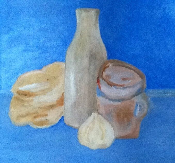 Bottle, jug, bread and garlic study.
