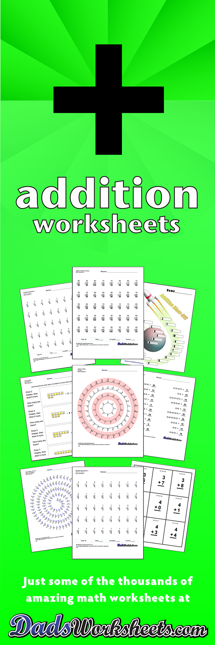 The Worksheets On This Page Introduce Addition Math Facts Multiple