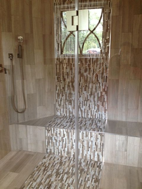 Waterfall Tile Design In The Shower Bathroom Back Splash
