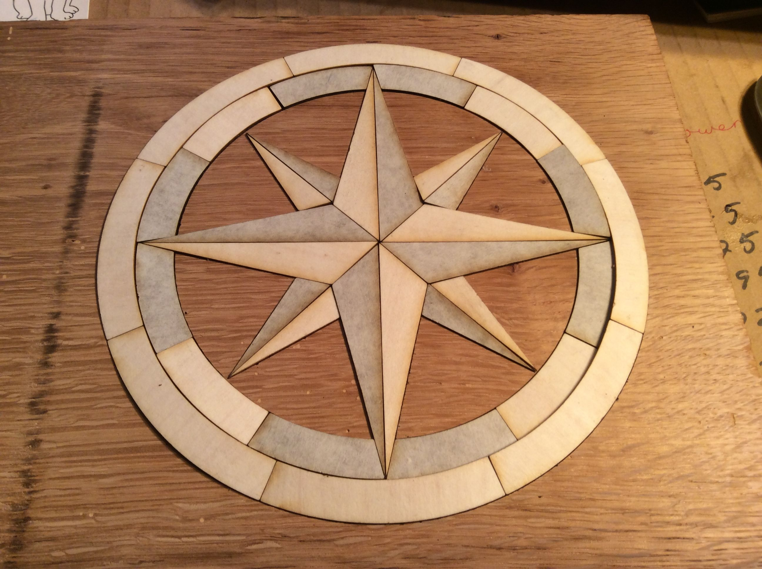 Proofgrade Veneer Compass Rose Inlay From Design To Finished