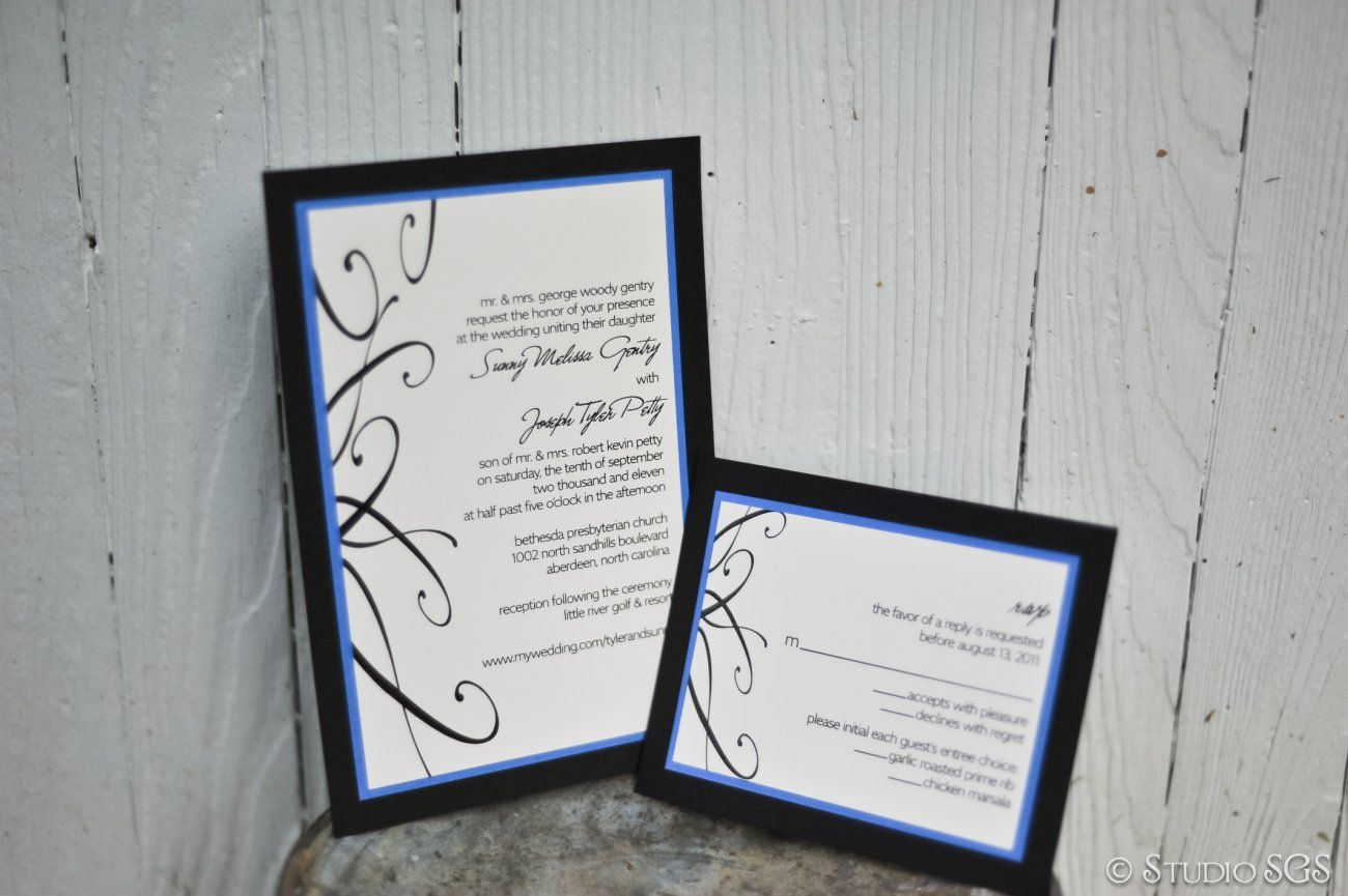 Wedding Invitation Set, Black, Blue | Wedding Invitations ...