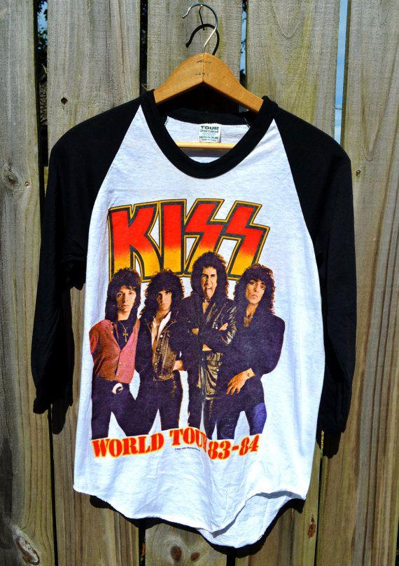 Vintage Kiss World Tour 1983 1984 Baseball Style Concert Tshirt Vintage Concert T Shirts Vintage Band Shirts Concert Tshirts