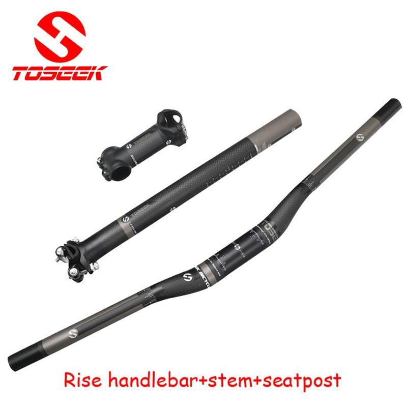 TOSEEK Carbon 3K MTB Mountain Bike Flat Riser Handlebar Stem Seatpost Set Parts