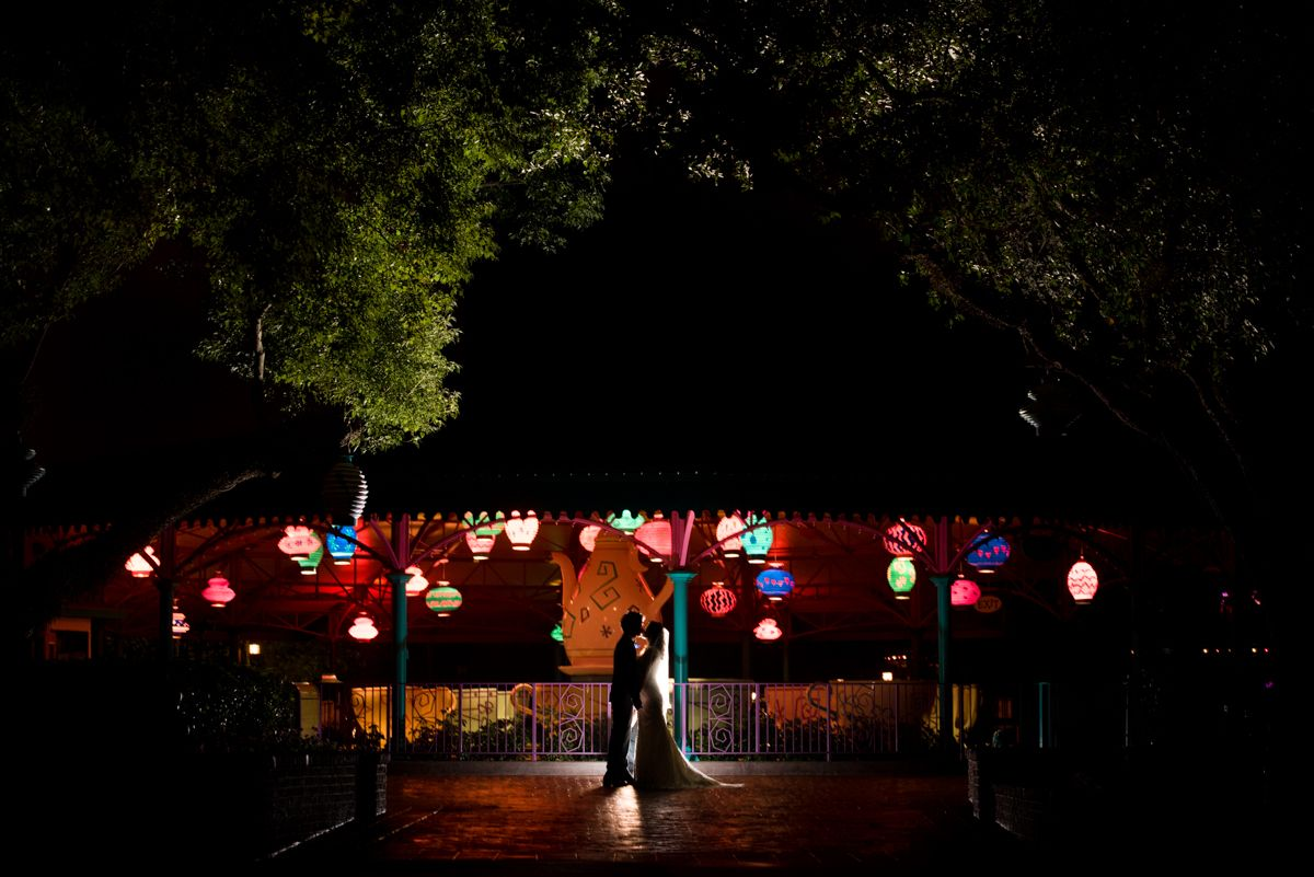 The bright and colorful lanterns of the Mad Tea Party light up the night in Magic Kingdom. Photo: Stephanie, Disney Fine Art Photography