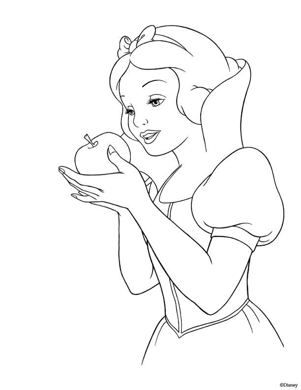 Nice Disney Tattoo Free Coloring Page Featuring The Disney Princess Snow White And Her R Snow White Coloring Pages Disney Coloring Pages Apple Coloring Pages