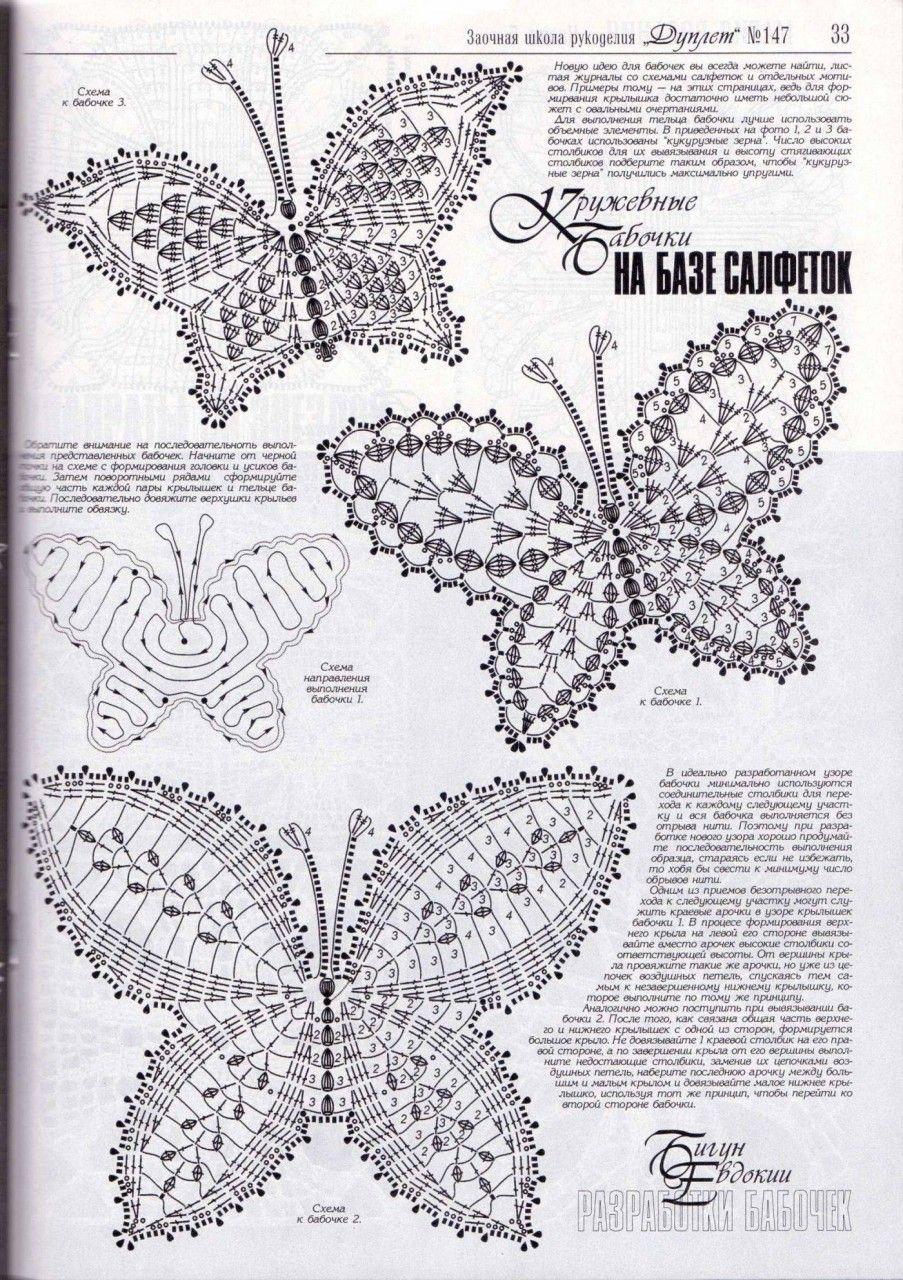 Raccolta Schemi A Uncinetto A Tema Farfalle 2 Uncinetto