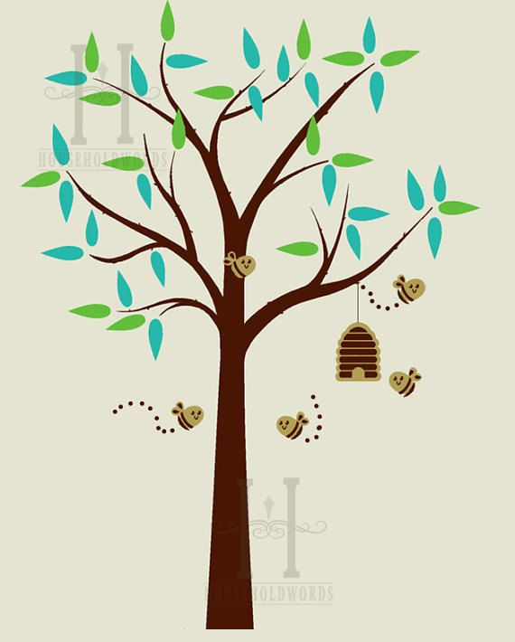 Tree Decal For Kids Rooms Beehive And Bees Childrens Decor Nursery Wall Art Honey On