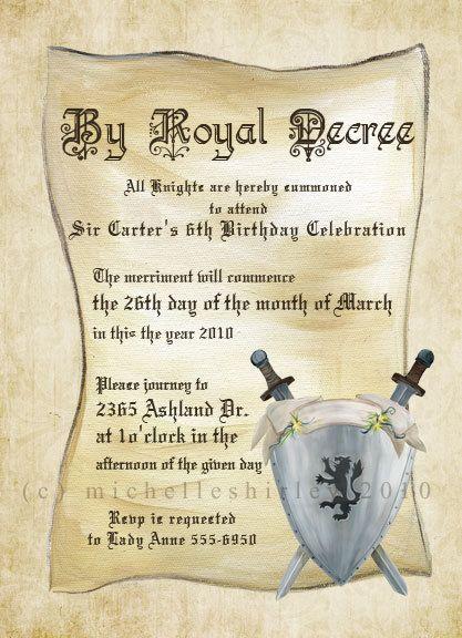 invitation knight party invitations
