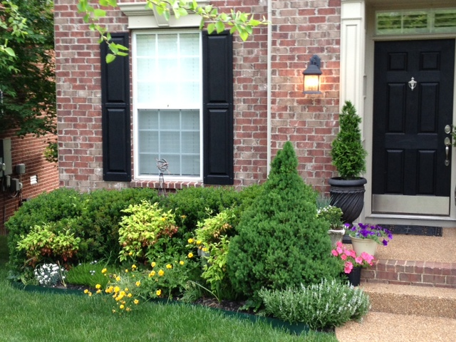 Small Front Yard Foundation Planting Evergreens And Mixed Perennials Front Yard Small Front Yard Small Space Gardening