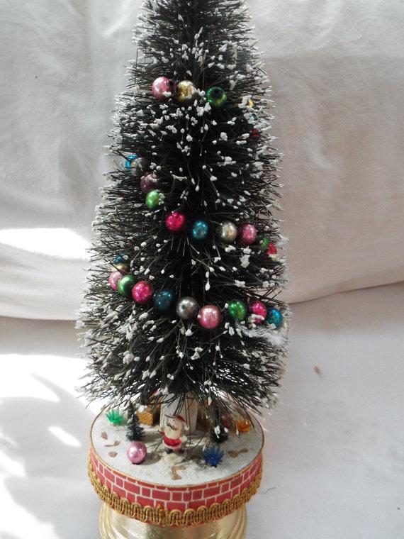 20 Bottlebrush Tabletop Musical Christmas Tree Mercury Glass Bead Garland Musical Box Rotating Bottle Brush Ornament Kitchy Tabletop Christmas Tree Merry Christmas To All Christmas