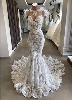 Spitze Brautkleid Meerjungfrau | Vintage Kleider Hochzeit | Brautkleid mit Feder…