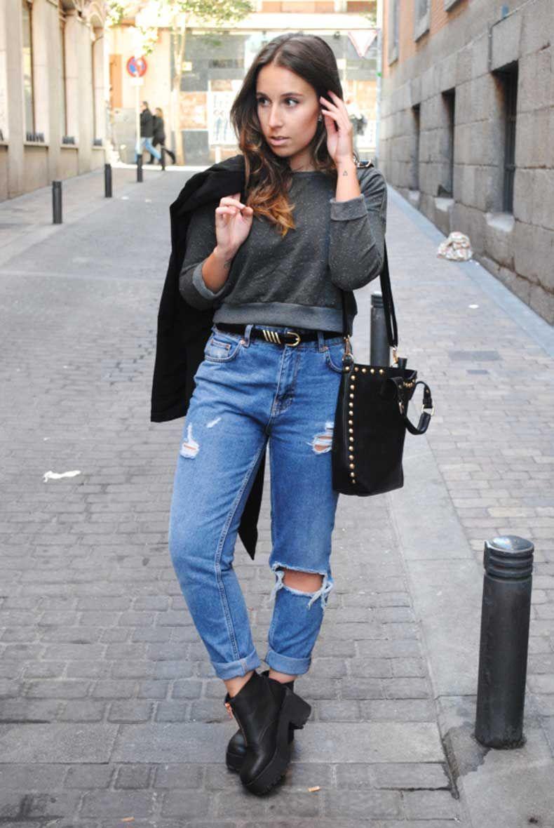25 Formas De Verte Femenina En Jeans Sueltos Vaqueros De Novio Ropa Holgada Atuendo Con Vaqueros Para El Novio