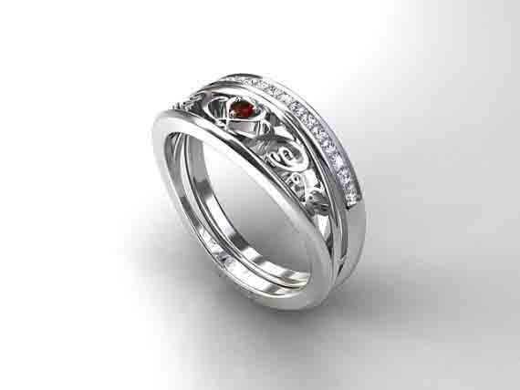 Finnish origin garnet filigree ring set white gold ring diamond
