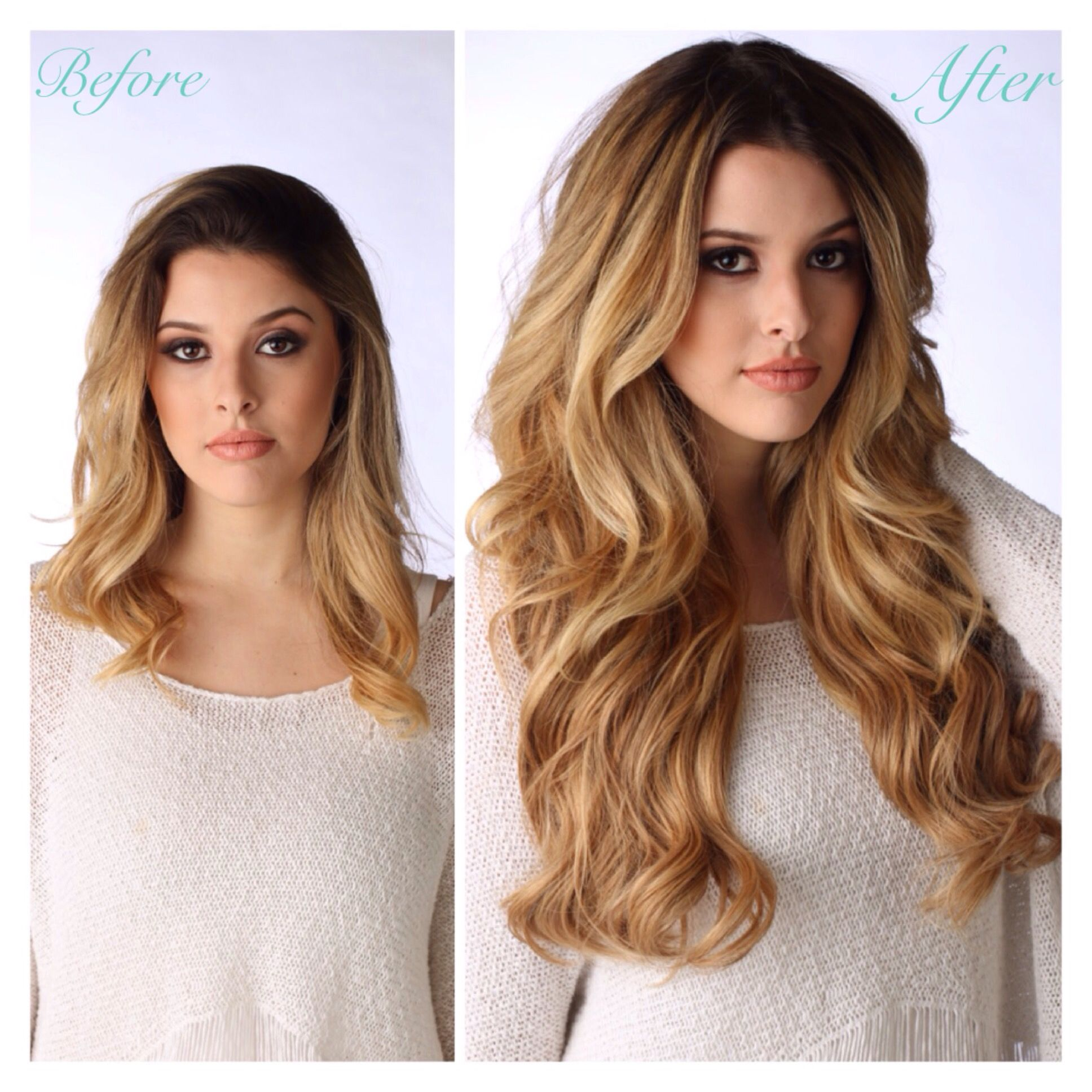 Before and after color 622 20 layered halo halocouture www before after hair extensions add length and volume in minutes pmusecretfo Images