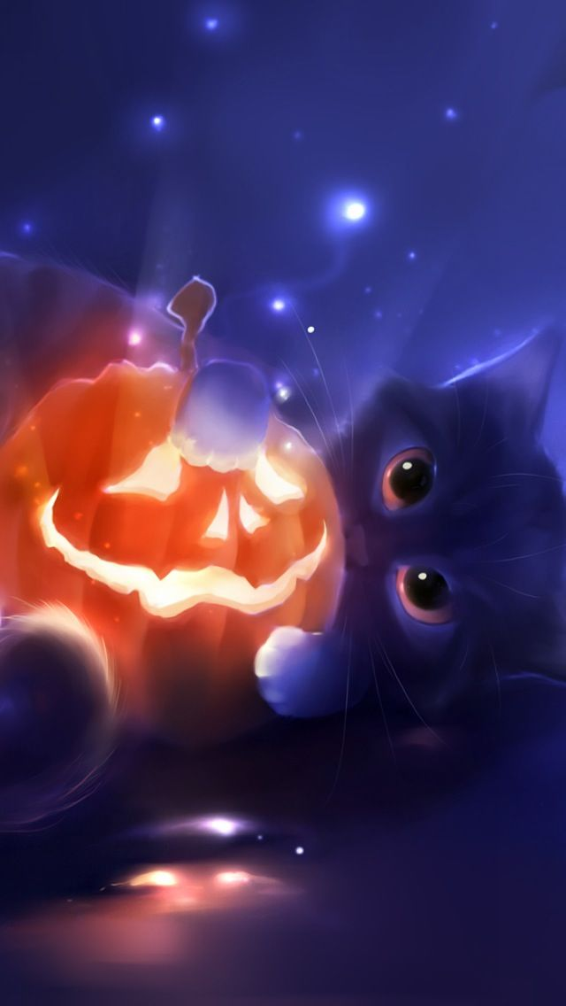 Black Cat Halloween Wallpaper Carta Da Parati Con Animali Gattini Sfondi Carini