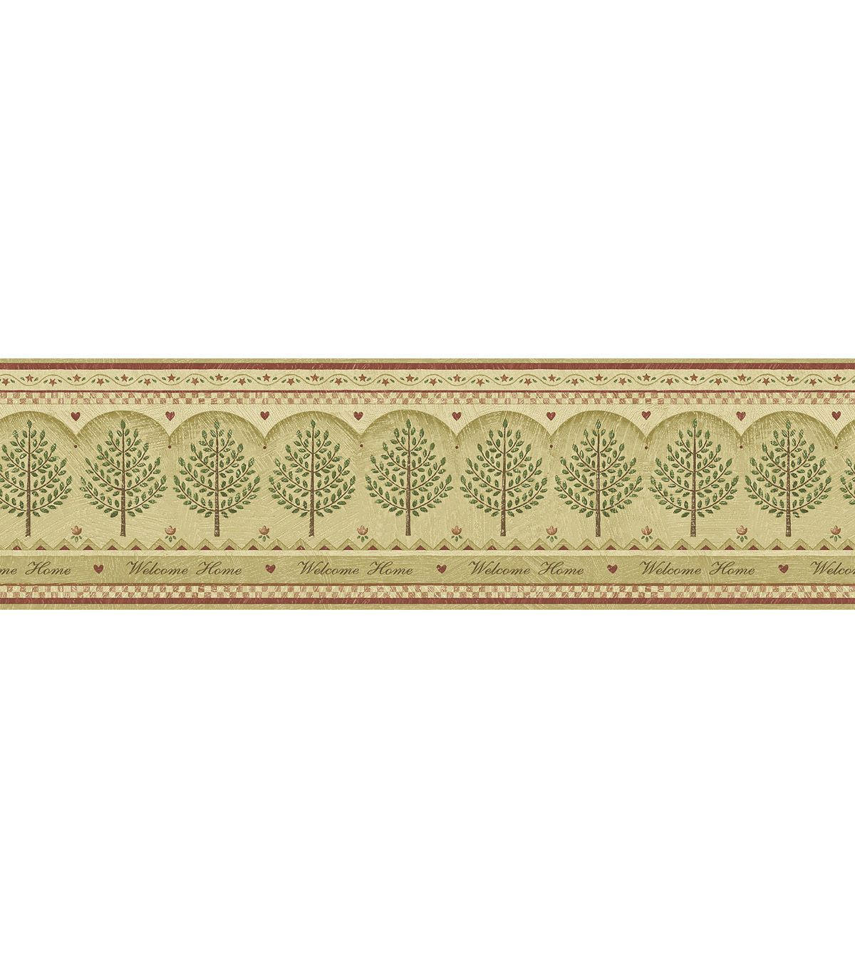 Home Tree Wallpaper Border, Beige Home wallpaper