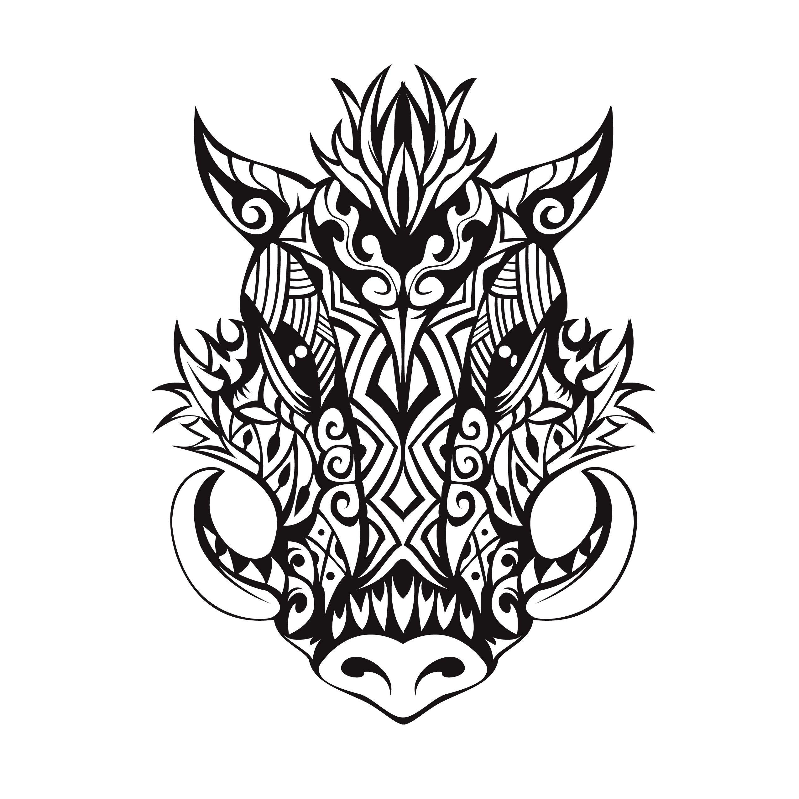 Tribal Boar Tattoo