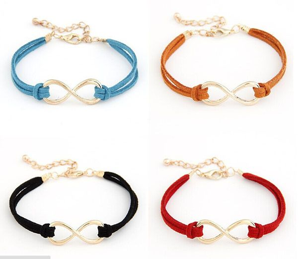 silver detail leather rope symbol infinity fashion ribbon product bracelet colorful handmade