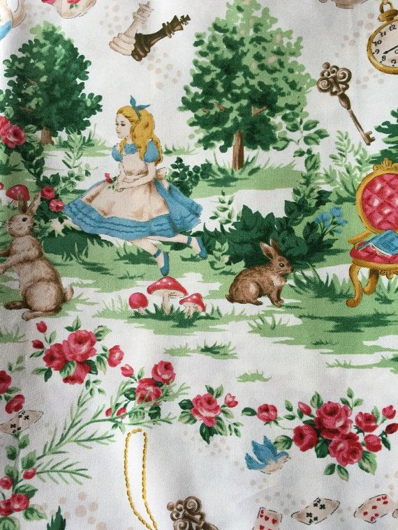 Alice in wonderland fabric pink blue colour One yard Entering wonderland 100x100cm 39inches x 39inches Unfinished edges Made in Japan 100%cotton