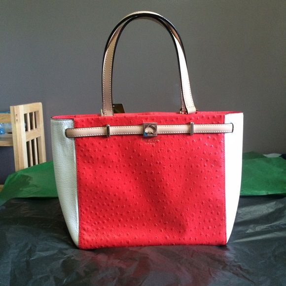 """NWT KATE SPADE Demarco bag Coral red & cream white. Large. Zip closure. Soft Leather. Retail at $425! 11.5"""" x 15.5"""" x4.5"""". Dust bag included. kate spade Bags"""