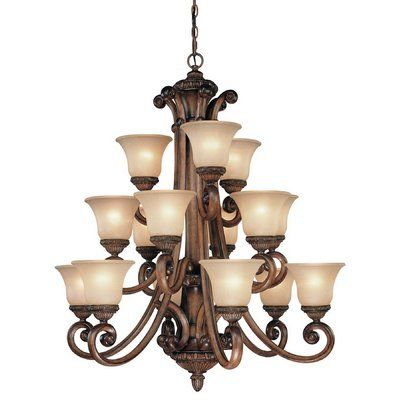 Light Shaded Tiered Chandelier