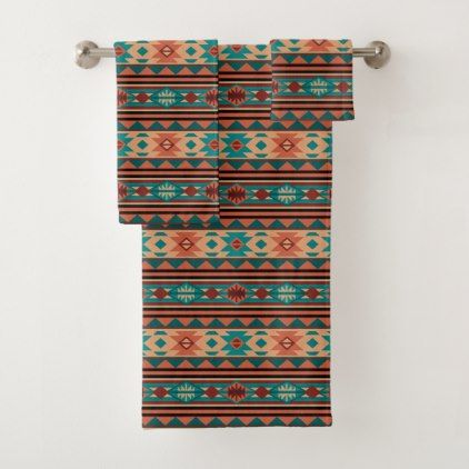 Southwest Tribal Pattern Turquoise Terracotta Bath Towel Set Zazzle Com Bath Towel Sets Towel Set Bath Towels