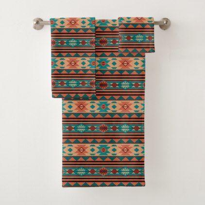 Southwest Tribal Pattern Turquoise Terracotta Bath Towel Set