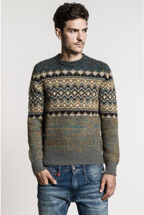 Wool bouclé crewneck sweater with jacquard design across the upper ...