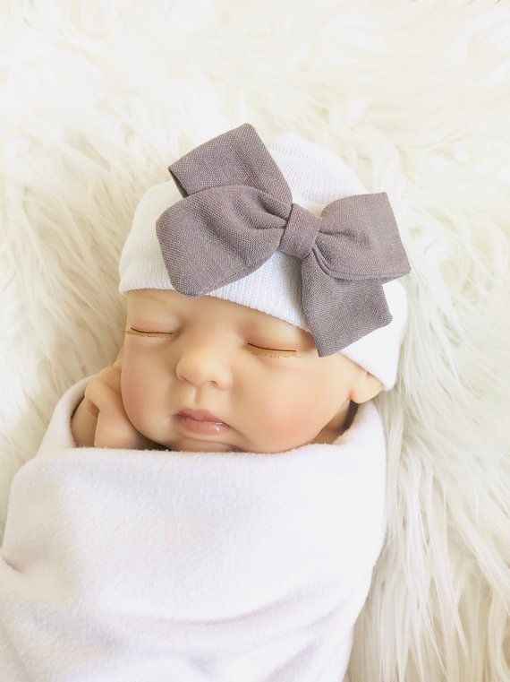 ab98f17a3 Newborn Gray Bow Hat for baby girls, Baby Beanie, Hospital Hat, Bow ...