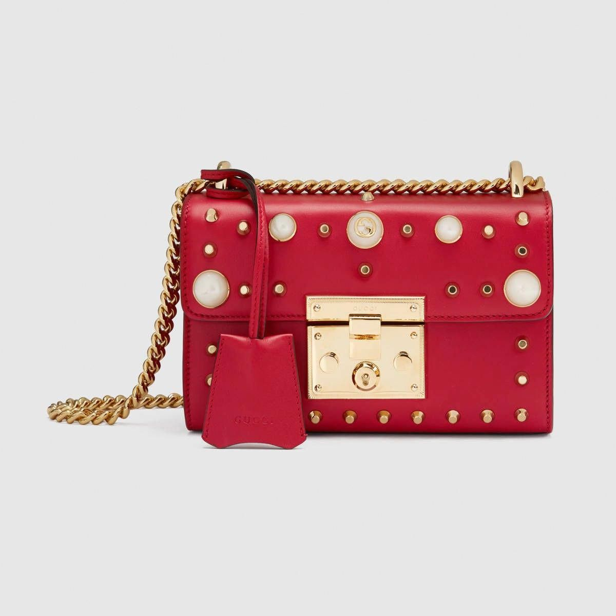 553cc08122b GUCCI Padlock studded leather shoulder bag - hibiscus red leather.  gucci   bags  shoulder bags  hand bags  leather  lace