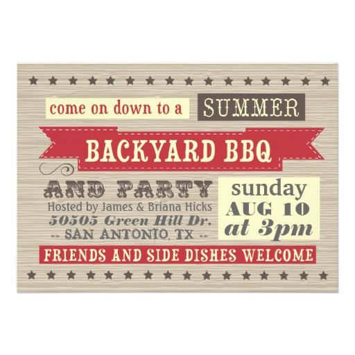 Backyard BBQ Invite   Summer Barbecue Party   Pinterest ...