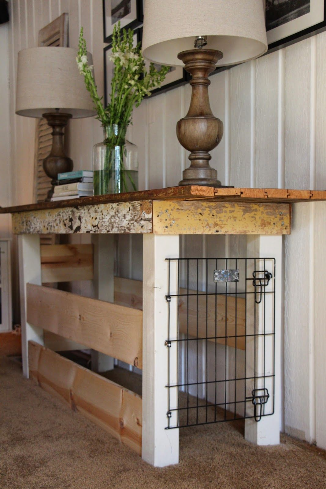 Diy crate console table - My Sweet Savannah Table Turned Dog Crate