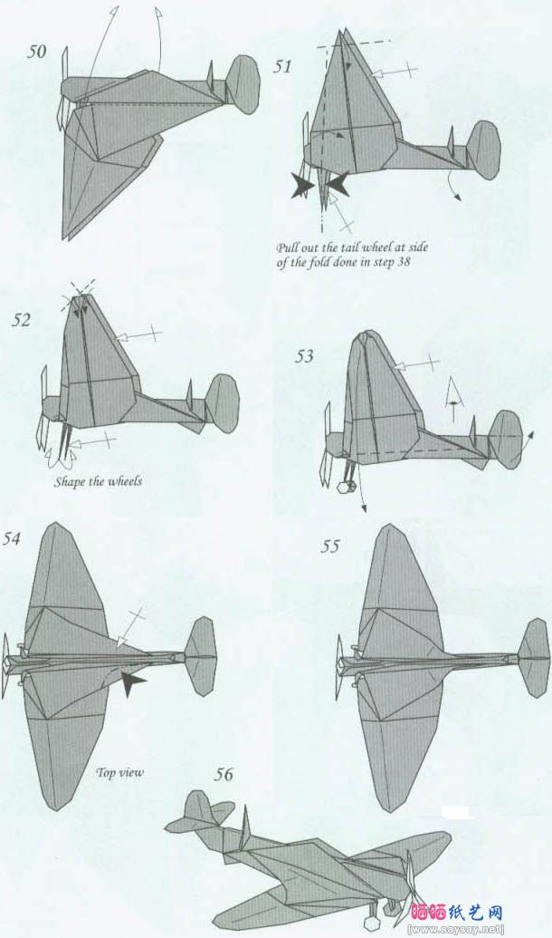 Spitfire Airplane Book Folding PATTERN  Cut and Fold