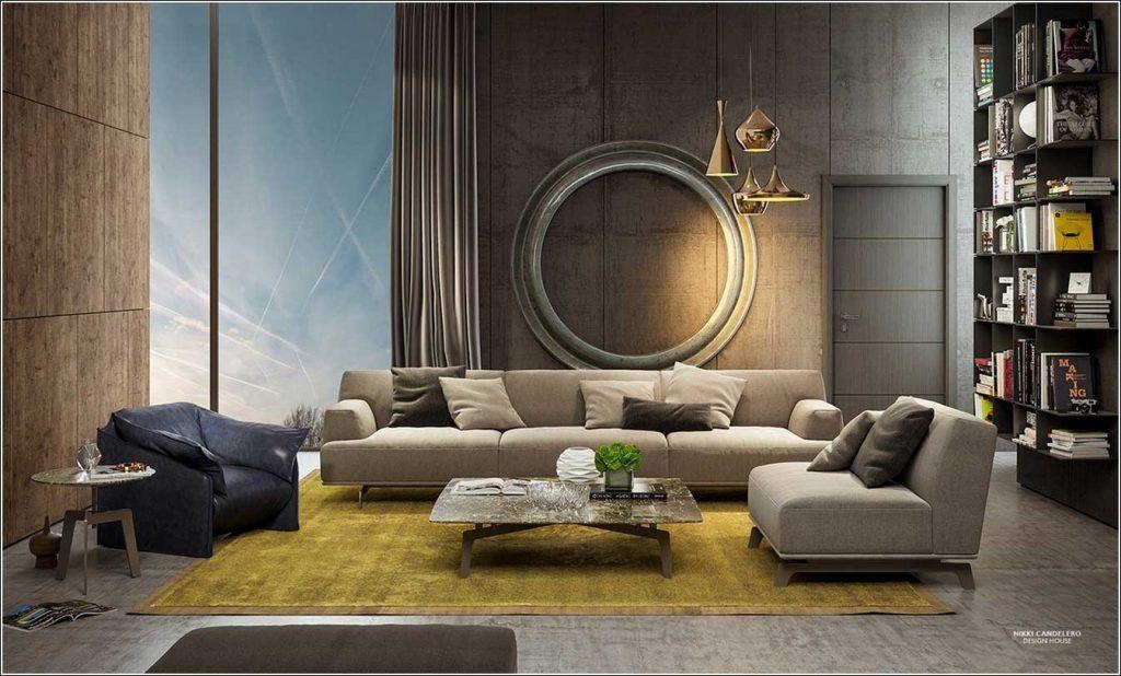 Kleine moderne woonkamer met mosterd gele gebied kleed badkamer
