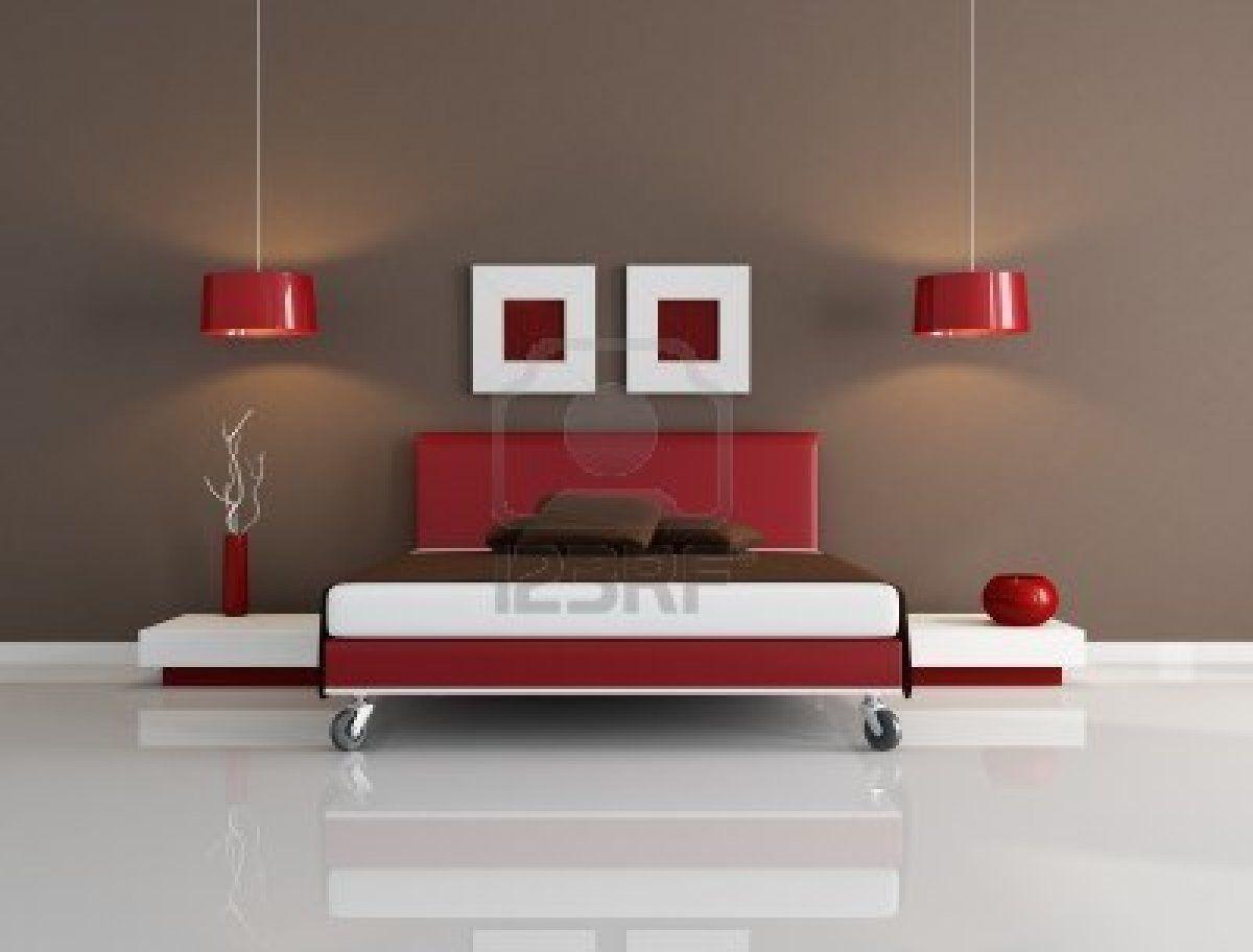 minimal red and brown bedroom -rendering Yatak odası