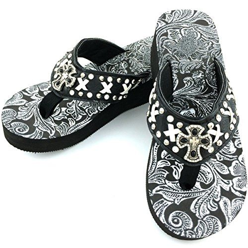 f3f0f979d7955c Western Peak Womens White Lace Full Rhinestones Cross Concho Diamond Black  White Flip Flops Sandals 6   Details can be found by clicking on the image.