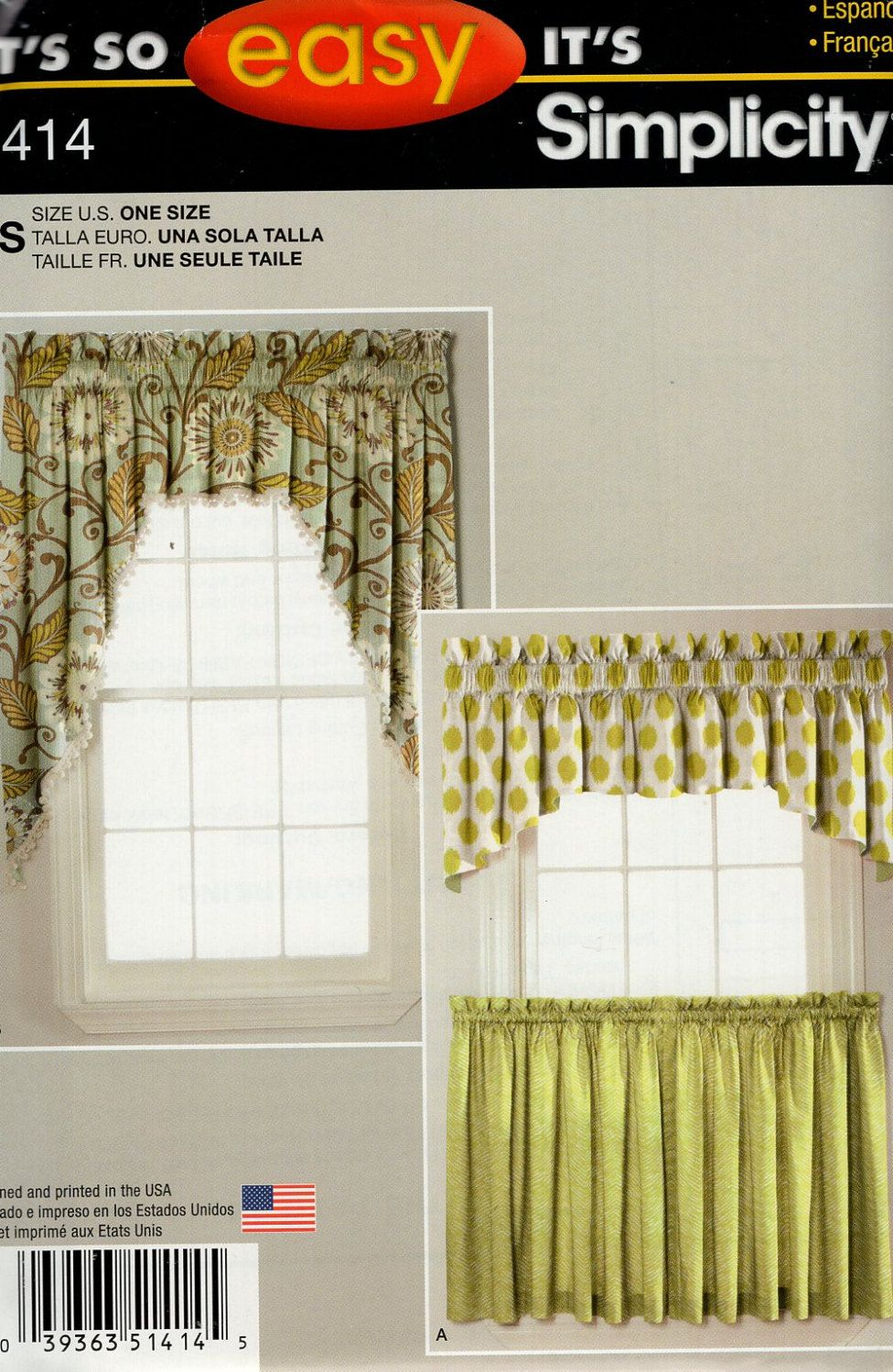 Simplicity Window Treatments Sewing Pattern 1414 Free Us Ship Valance Curtains Uncut New Uncut Out Of Prin Curtain Sewing Pattern No Sew Curtains Cafe Curtains