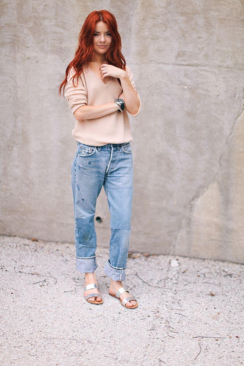 altrosa und Jeans