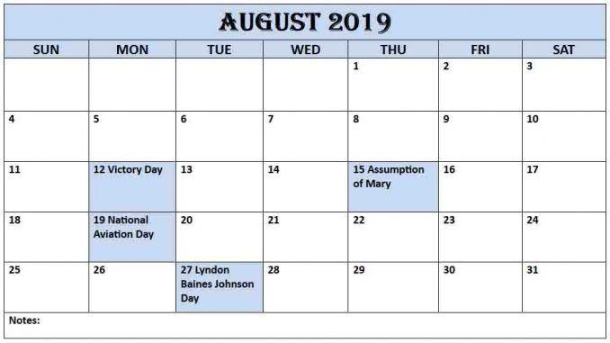 August 2019 Calendar Us 2019 Calendar Calendar August Calendar