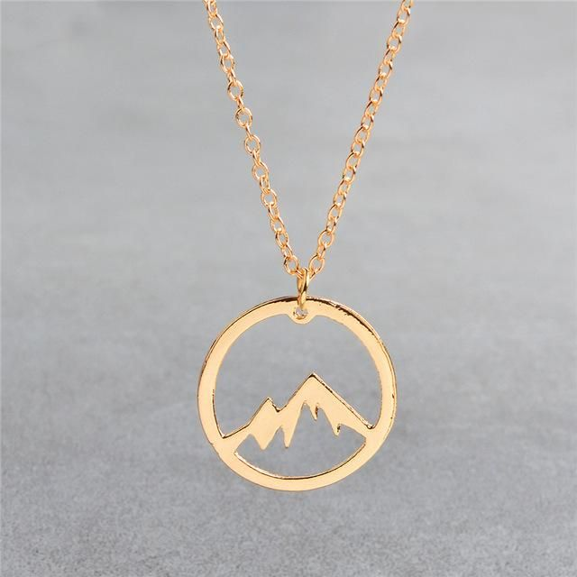 Photo of QIHE JEWELRY Mountain necklace World map necklace Mountain range jewelry Nature Hiker climbing lover gifts Minimalist Jewelry