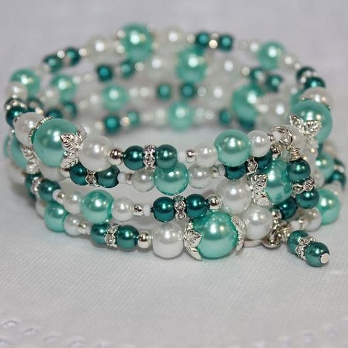 Memory Wire Beaded Bracelet Wrist Wrap Gl Beads And Pearls Aqua Teal Dream Women S Jewelry Love The Bubble Look Of All Diffe Size