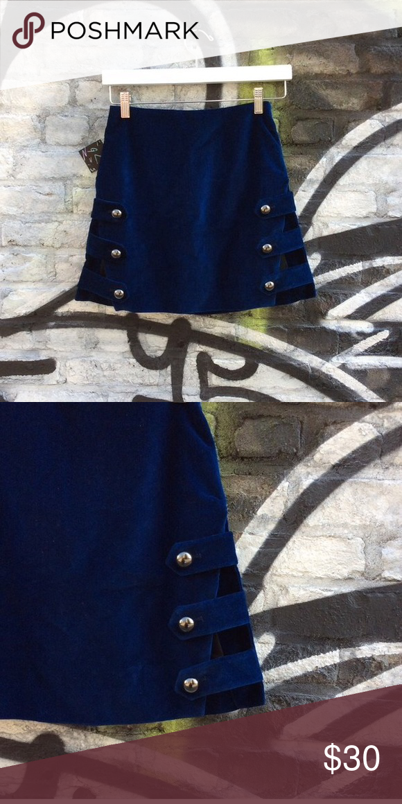 nasty gal velvet mini has sexy azz side cut outs. worn once! Nasty Gal Skirts