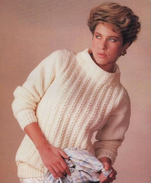 701353ec7124f7 Instant PDF Digital Download Vintage Knitting Pattern Ladies Easy Aran  Sweater Pullover Bust 28-38