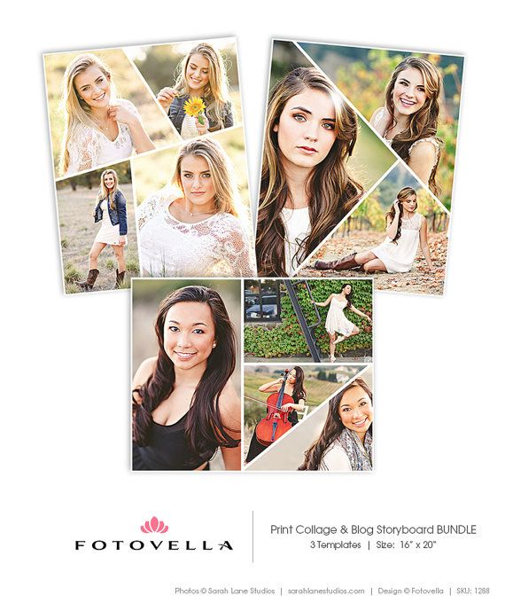 Senior Photography Print Collage Template  Three Piece Bundle