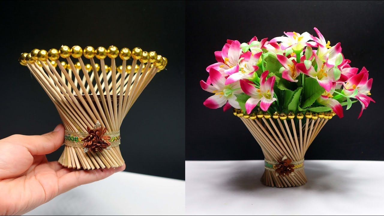 Ide Kreatif Vas Bunga Dari Tusuk Sate Bamboo Stick Flower Vase