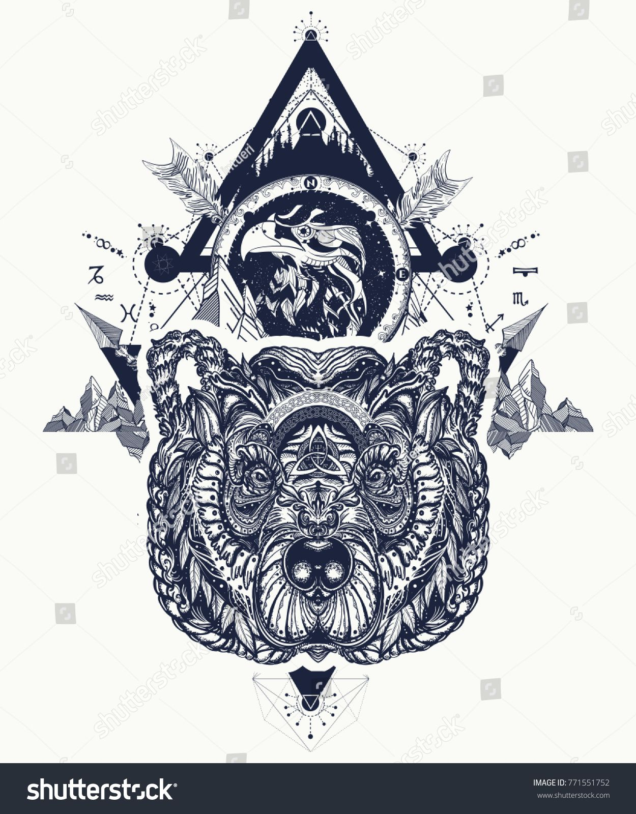 Eagle And Bear Tattoo Art Mountains Crossed Arrows Forest