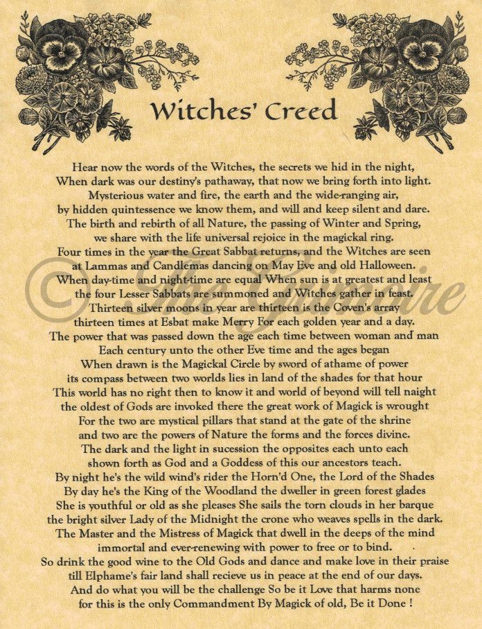 Details about The Witches Creed Real Wicca Book of Shadows Spell